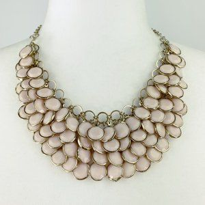 Jewelry - Pink Faceted Stone Bib Collar Necklace Gold Tone